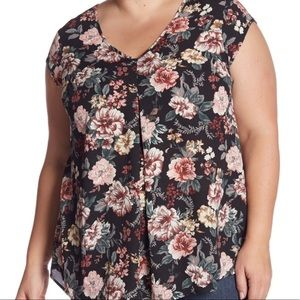 Halogen Floral Double V-Neck Woven Top 3X BNWT